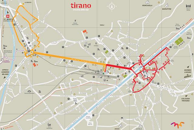 Mappa di Tirano con punti d'interesse